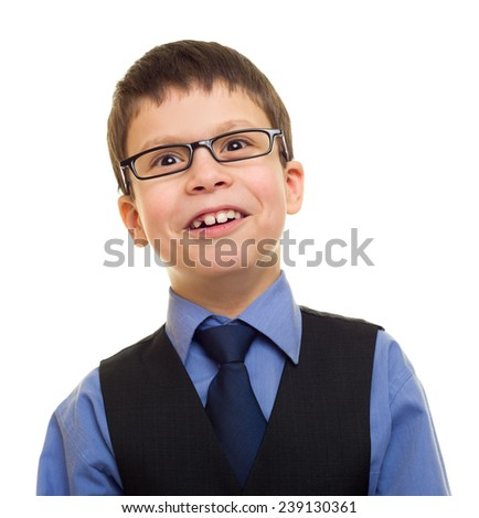 portrait of a boy in business suit on white