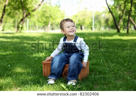 Portrait of a boy in the summer park - stock photo