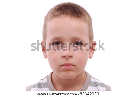 portrait of a boy isolated on white