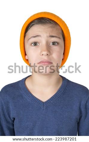 portrait of a boy looking sad  - stock photo