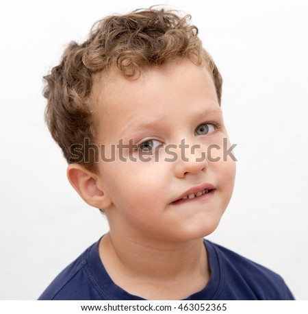 Portrait of a boy on a white background