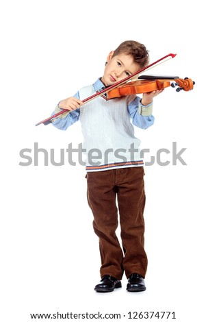 Portrait of a boy posing with his violin. Isolated over white background. - stock photo