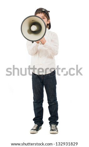 Portrait Of A Boy Shouting In Megaphone On White Background