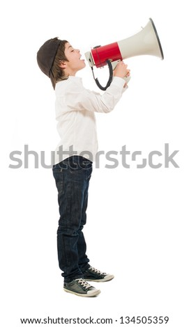 Portrait Of A Boy Shouting In Megaphone On White Background - stock photo