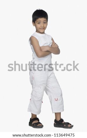Portrait of a boy smirking - stock photo