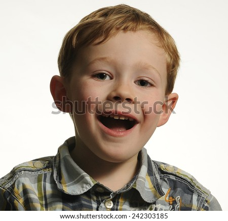 Portrait of a Boy with a Big Smile - stock photo