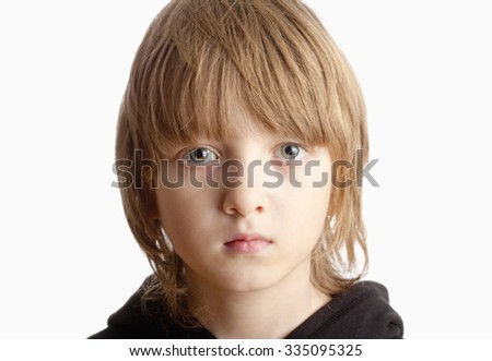 Portrait of a Boy with Blond Hair Looking - Isolated on White
