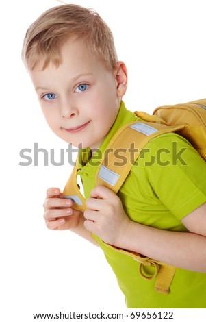 Portrait of a boy with satchel - stock photo