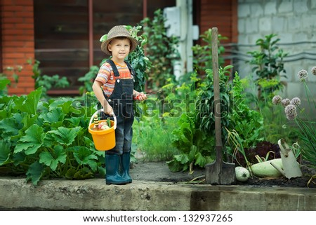 Portrait of a boy working in the garden in holiday - stock photo
