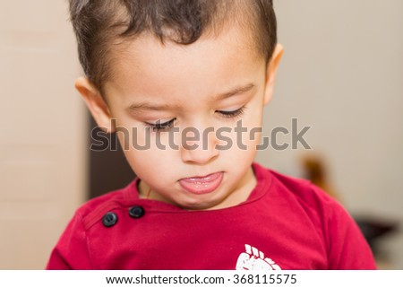 portrait of a boy 2 years indoors - stock photo
