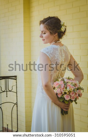 Portrait of a bride with a bouquet