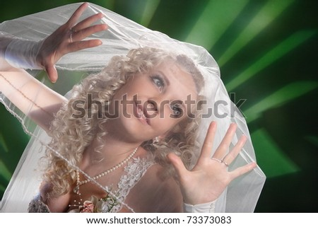 portrait of a bride with a veil on her face - stock photo
