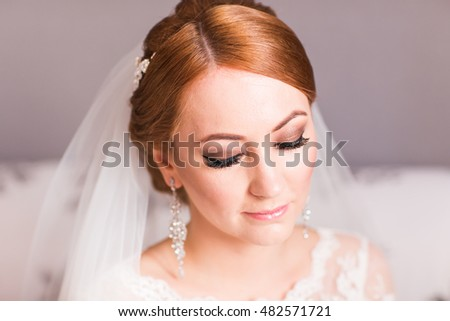 Portrait of a bride with wedding makeup