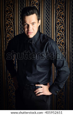 Portrait of a brunet mature man showing discontent.  - stock photo