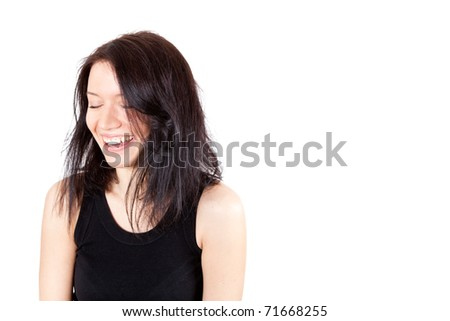 portrait of a brunette young woman isolated on white background - stock photo