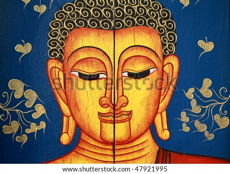 Portrait of a Buddha statue - stock photo