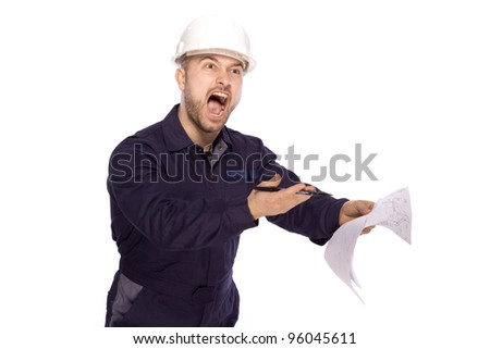 Portrait of a builder in a white helmet on a white background