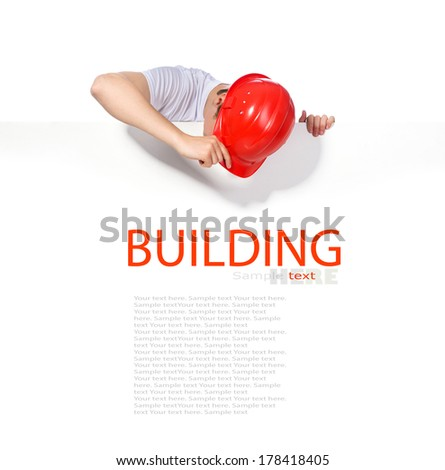 portrait of a builder on a white background