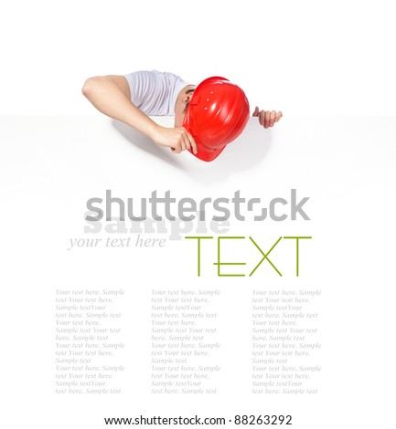 portrait of a builder on a white background - stock photo