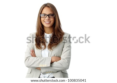 Portrait of a business lady isolated on white background, good for ads and presentations - stock photo