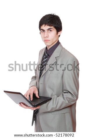 Portrait of a business man displaying a computer laptop over white background