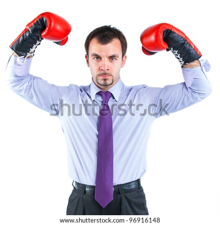 Portrait of a  business man in red boxing gloves isolated on white background. Studio shot. - stock photo
