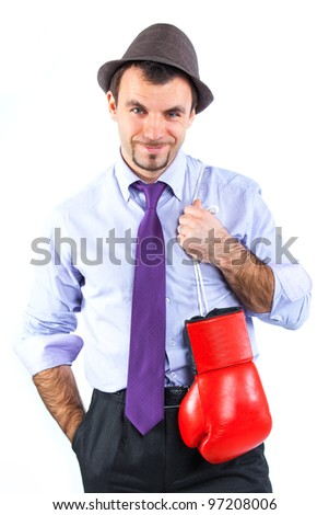 Portrait of a  business man in red boxing gloves isolated on white background. Studio shot.