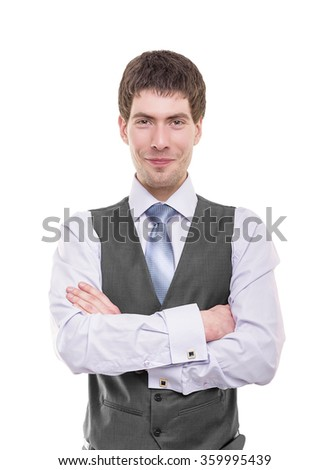 Portrait of a  business man isolated on white background.  - stock photo