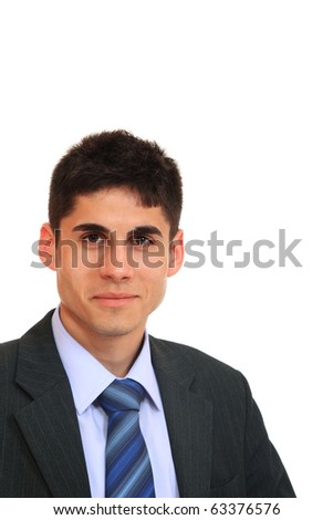 Portrait of a business man isolated on white background. Studio shot. - stock photo