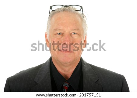 Portrait of a Business Man. Isolated on white with room for your text. - stock photo