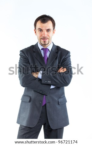 Portrait of a  business man on white background. Studio shot. - stock photo