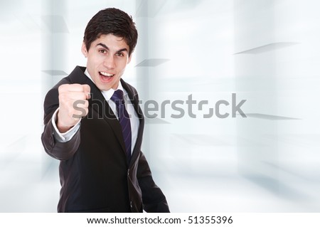 Portrait of a business man  over abstract background