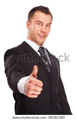 Portrait of a business man shake hand and greeting you isolated on white background. Studio shot. - stock photo