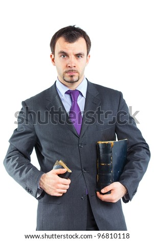 Portrait of a  business man with book isolated on white background. Studio shot. - stock photo