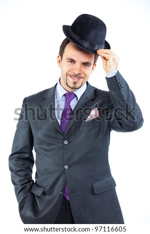 Portrait of a business man with hat isolated on white background. Studio shot.
