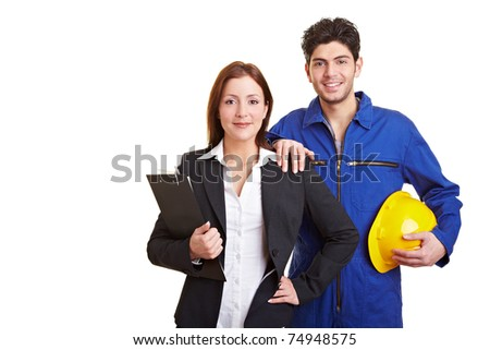 Portrait of a business woman and happy manual worker - stock photo