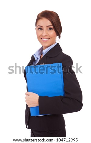 Portrait of a business woman holding a clipboard, isolated on white background - stock photo