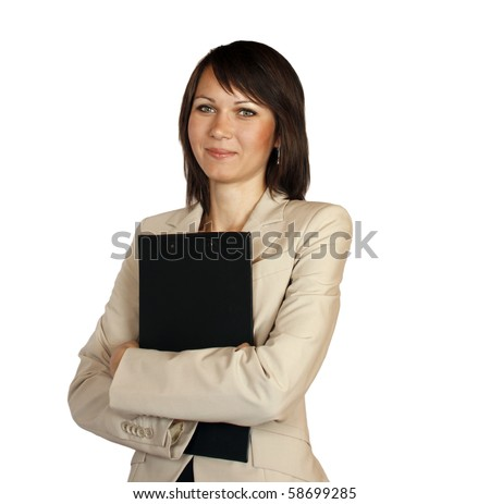 Portrait of a business woman isolated on white background - stock photo