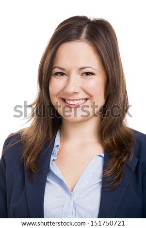 Portrait of a business woman smiling, isolated over white background - stock photo