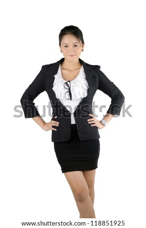 Portrait of a business woman standing with confident smiley face isolated on white background, model is a asian woman - stock photo