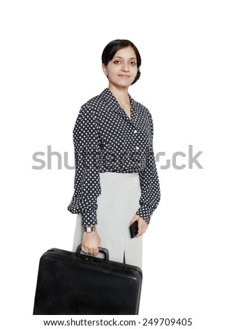 Portrait of a business woman traveling abroad. - stock photo