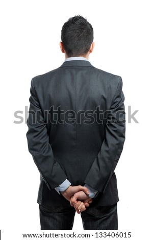 Portrait of a businessman back view isolated on white background. Studio shot. - stock photo