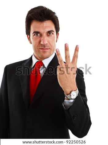 Portrait of a businessman counting - stock photo