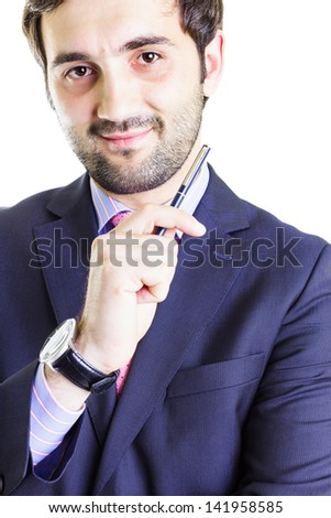 Portrait of a businessman holding a pen with a positive attitude, isolated on white - stock photo