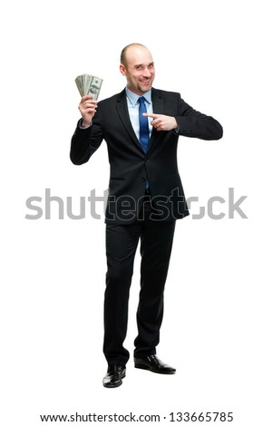 Portrait of a businessman money, isolated on white