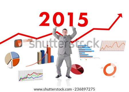Portrait of a businessman pushing the roof against red arrow - stock photo