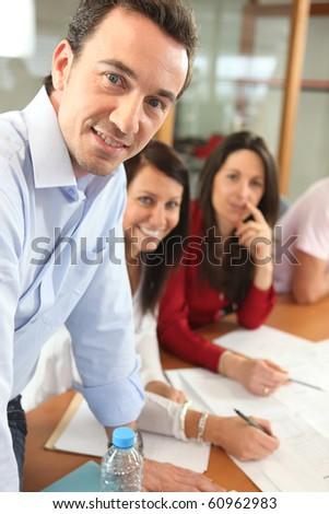 Portrait of a businessman smiling - stock photo