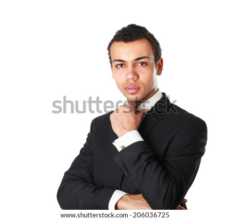 Portrait of a businessman standing isolated on white background - stock photo