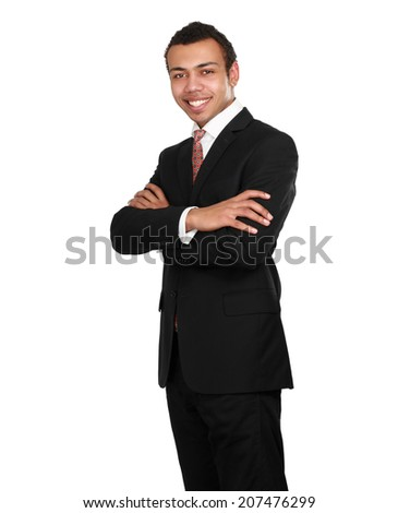 Portrait of a businessman standing isolated on white background