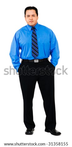 Portrait of a businessman standing isolated over white